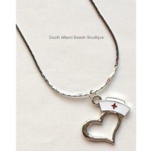 "Silver Nursing Cap Heart Necklace RN LPN CNA 18"""